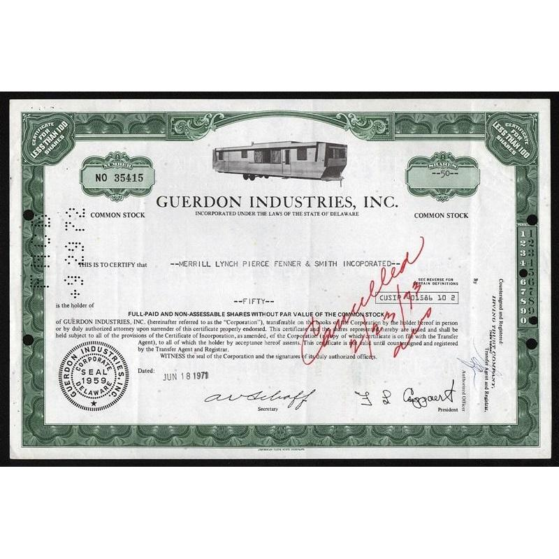 Guerdon Industries, Inc. Stock Certificate