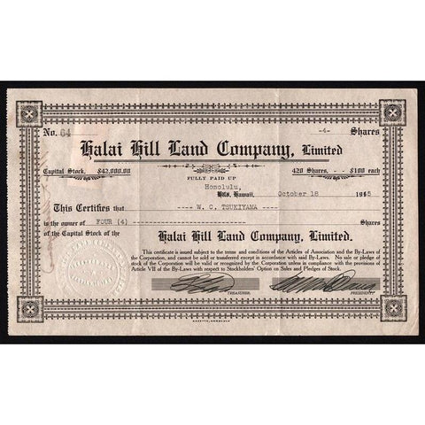Halai Hill Land Company, Limited (Honolulu, Hawaii) Stock Certificate