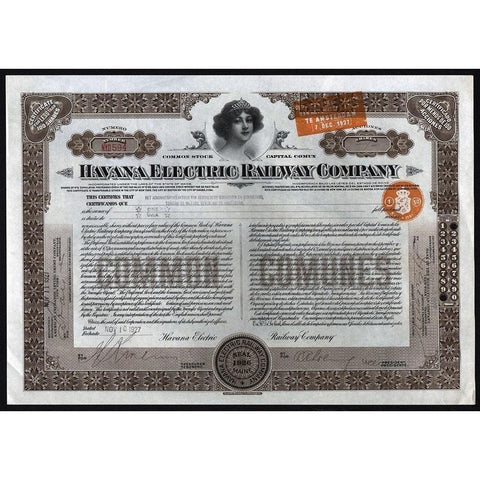 Havana Electric Railway Company Stock Certificate