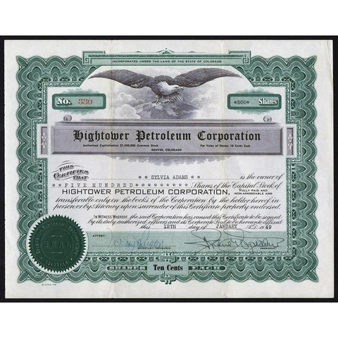 Hightower Petroleum Corporation Stock Certificate