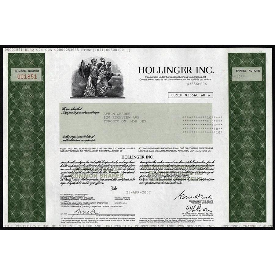 Hollinger Inc. (Conrad Black) Stock Certificate