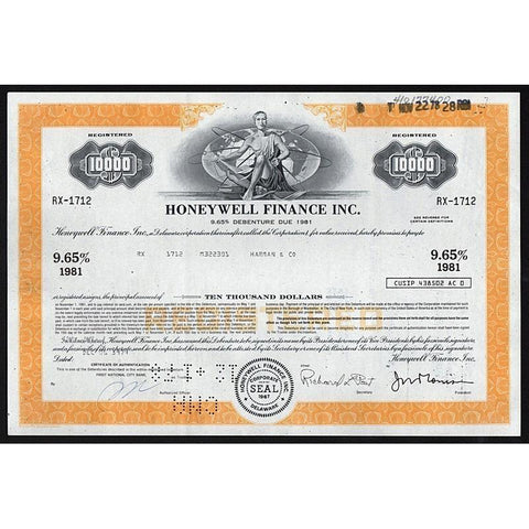 Honeywell Finance Inc., $10,000 Debenture Stock Certificate