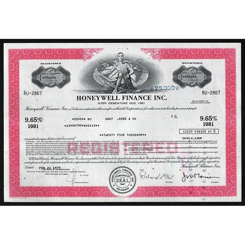 Honeywell Finance Inc., $25,000 Debenture Stock Certificate