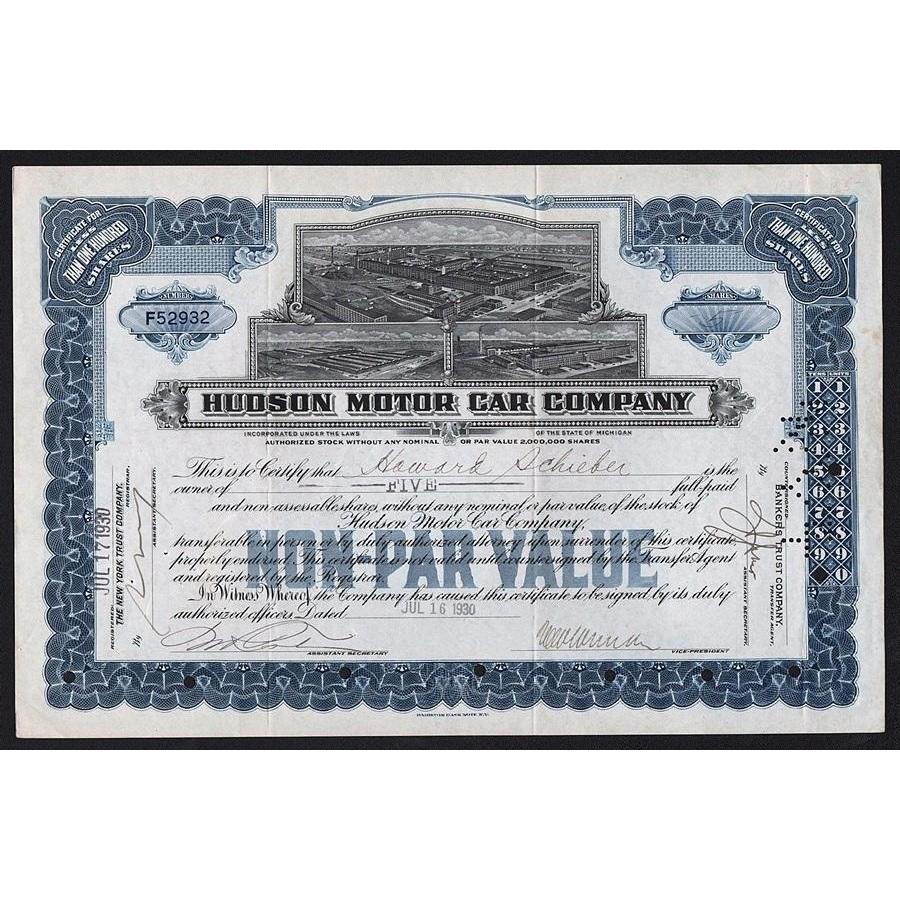Hudson Motor Car Company 1930 Michigan Stock Certificate
