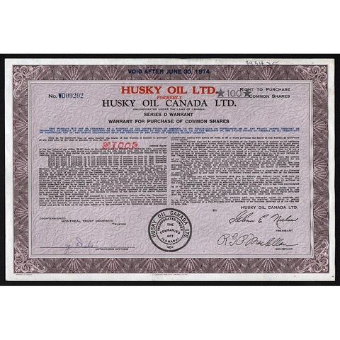 Husky Oil Canada Ltd. Stock Certificate