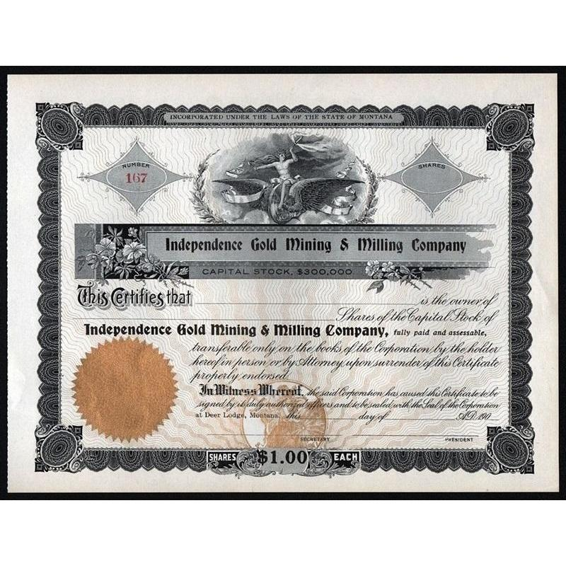 Independence Gold Mining & Milling Company Stock Certificate