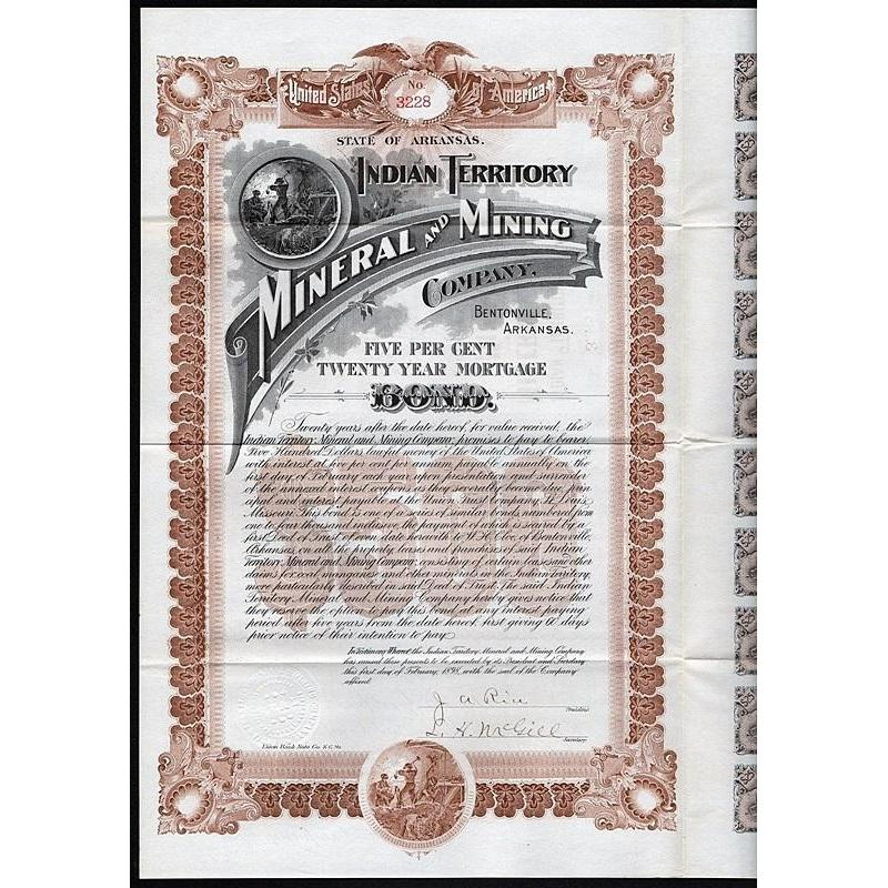 Indian Territory Mineral and Mining Company (Bentonville, Arkansas) Stock Certificate