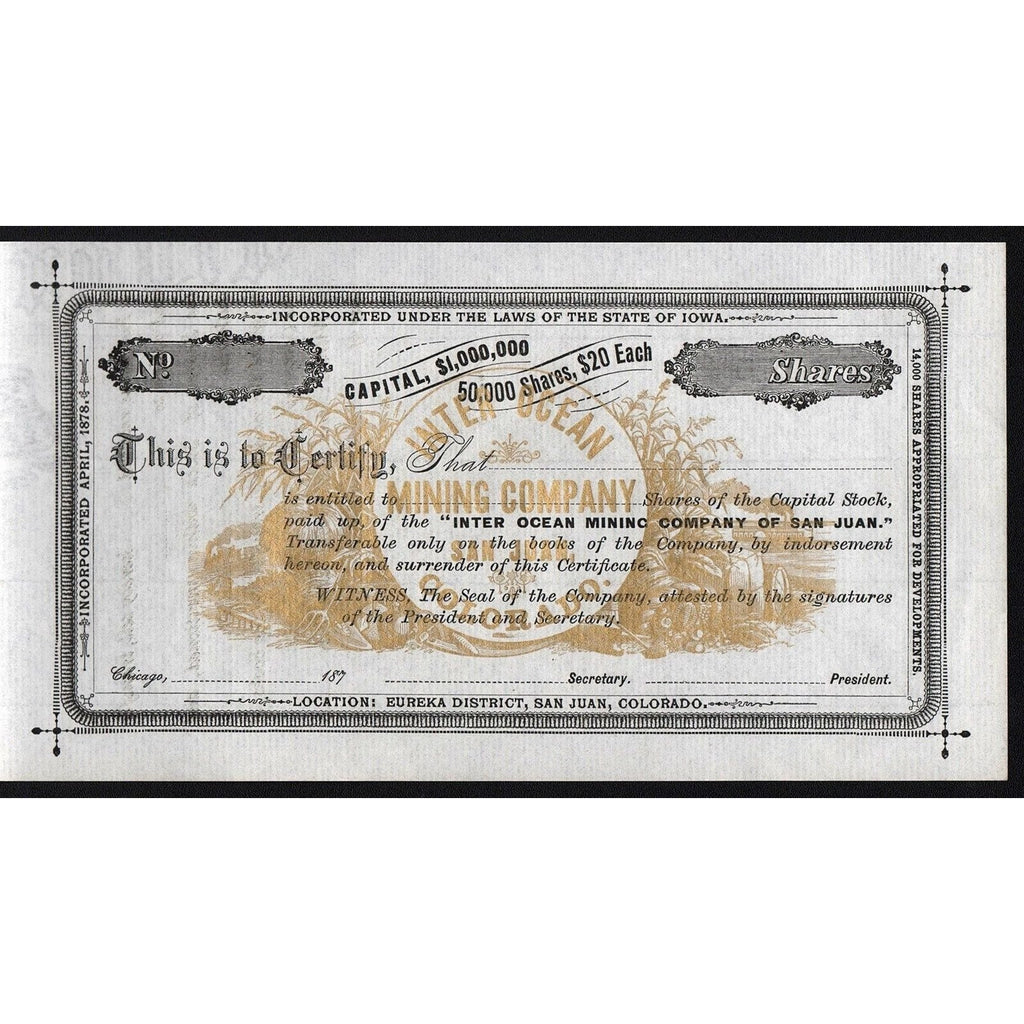 Inter Ocean Mining Company of San Juan, Colorado Stock Certificate