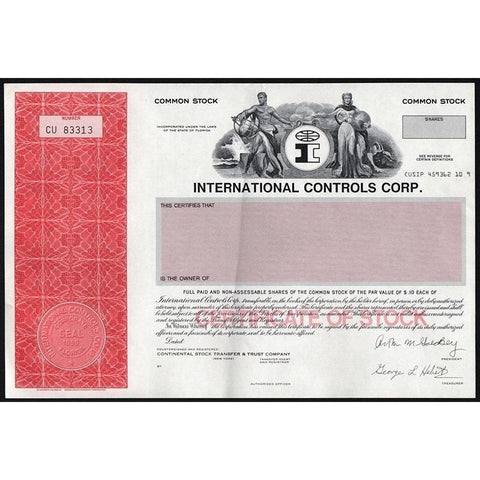 International Controls Corp. Stock Certificate