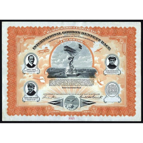 International Gordon Bennett Race Stock Certificate
