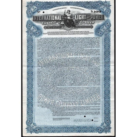 International Light and Power Company Limited (Specimen) Stock Certificate