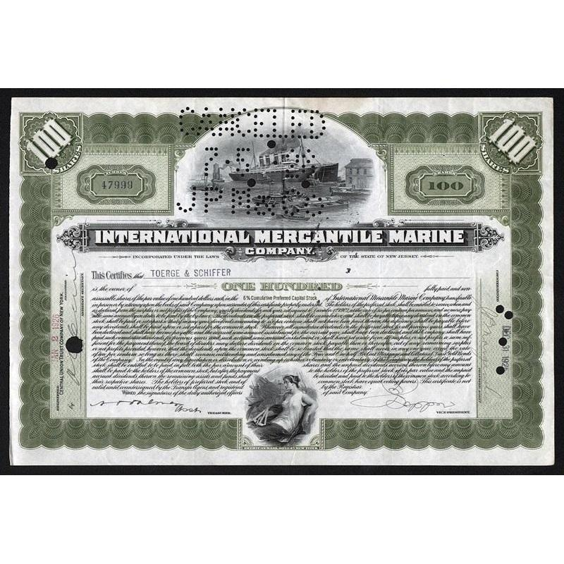 "International Mercantile Marine Company (""Titanic"") Stock Certificate"