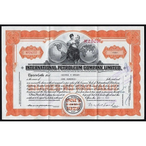 International Petroleum Company, Limited 1957 Canada Stock Certificate