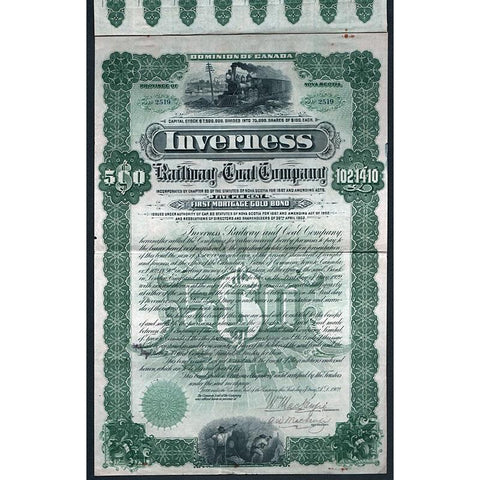 Inverness Railway and Coal Company Stock Certificate