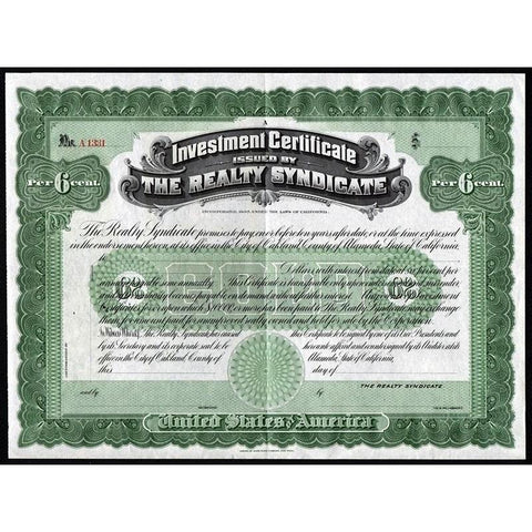 Investment Certificate issued by The Realty Syndicate Stock Certificate