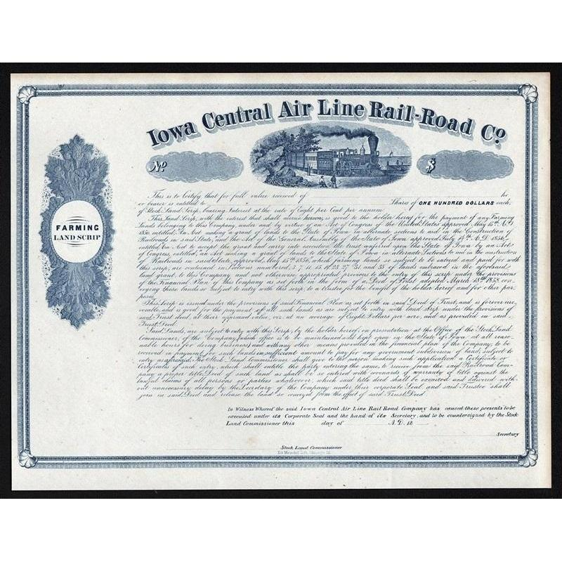 Iowa Central Air Line Rail-Road Co. Stock Certificate