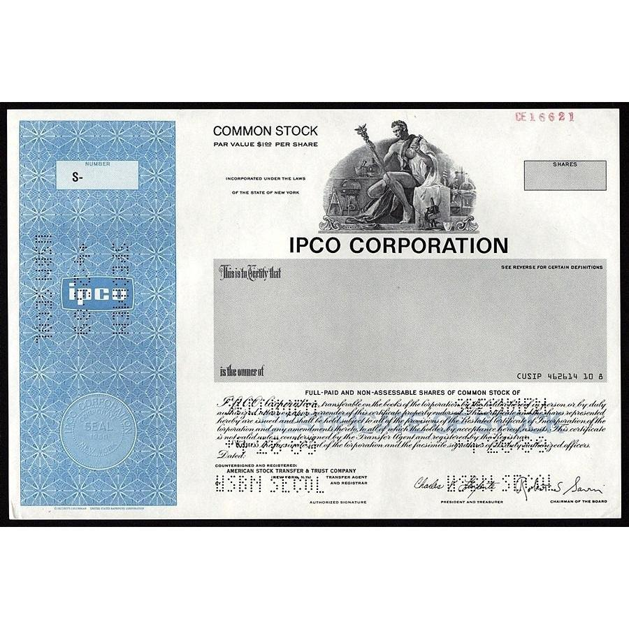 IPCO Corporation (Specimen) Stock Certificate