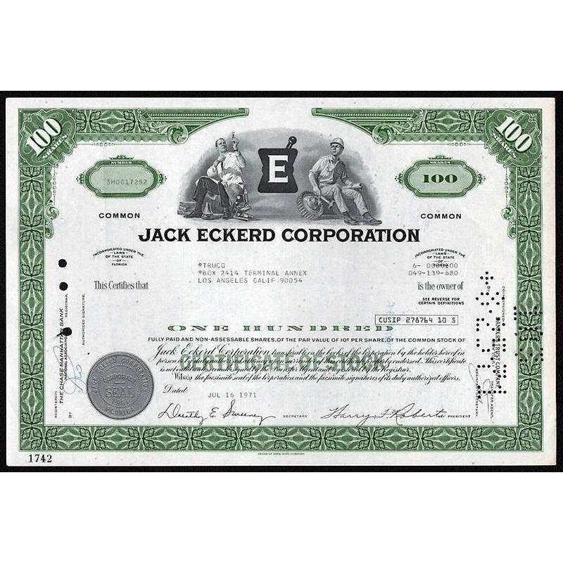 Jack Eckerd Corporation (Drugstores) Stock Certificate