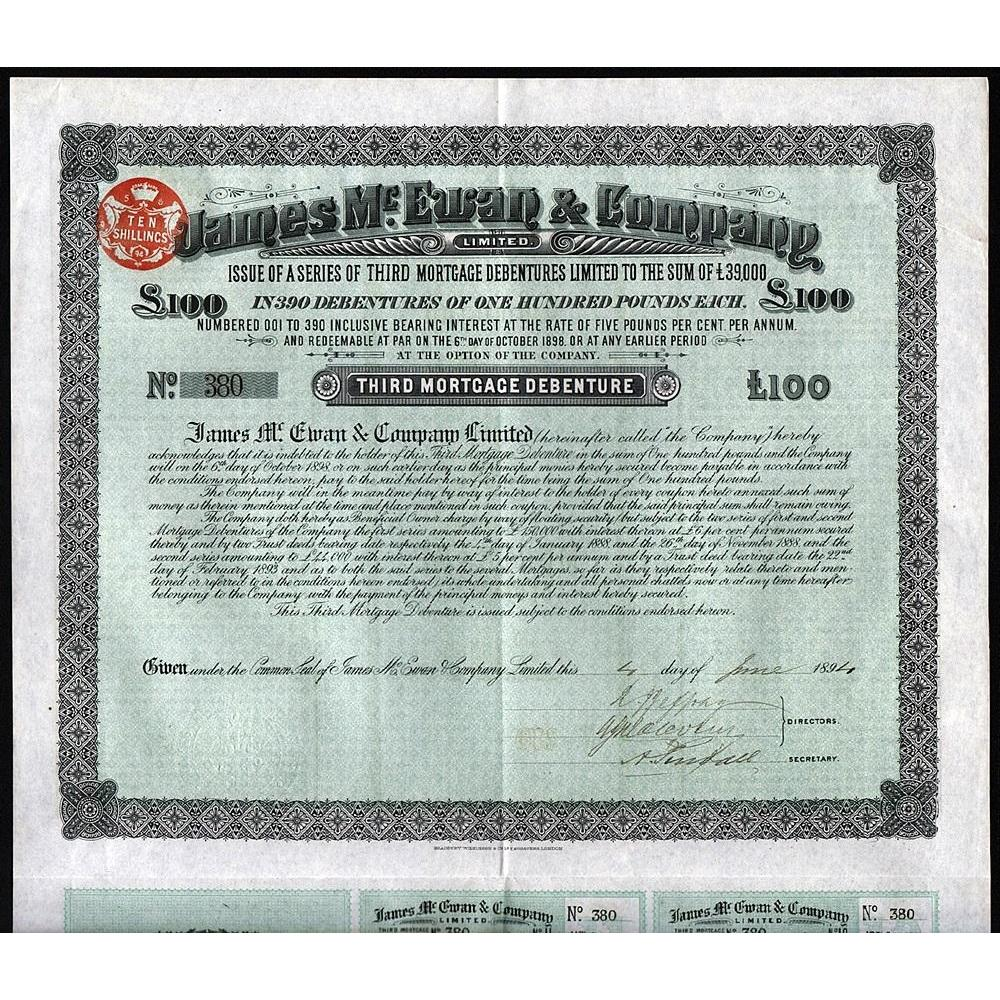 James McEwan & Company Limited Stock Certificate