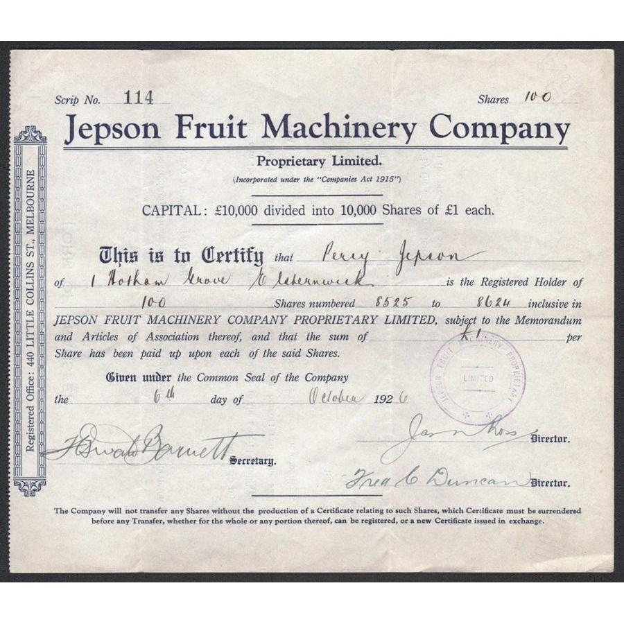 Jepson Fruit Machinery Company Proprietary Limited Stock Certificate
