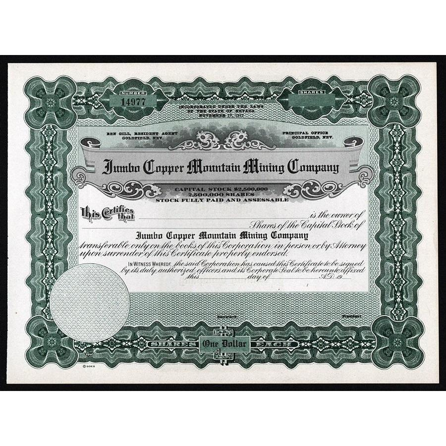 Jumbo Copper Mountain Mining Company Stock Certificate