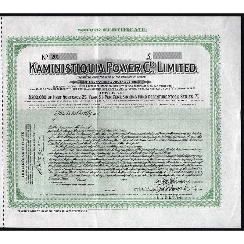 Kaministiquia Power Co., Limited (Specimen) Stock Certificate