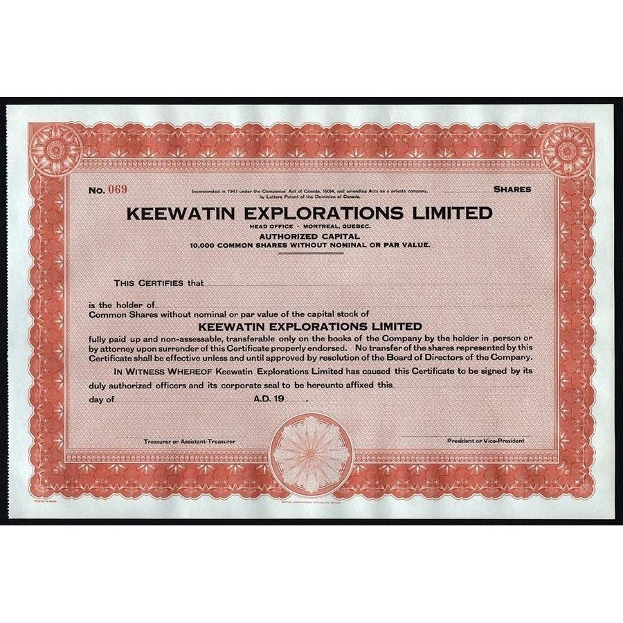 Keewatin Explorations Limited Stock Certificate