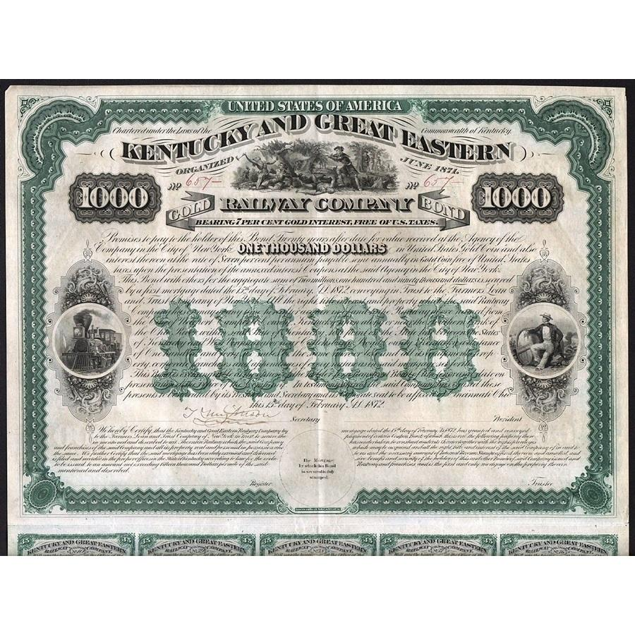 Kentucky and Great Eastern Railway Company (Gold Bond) Stock Certificate
