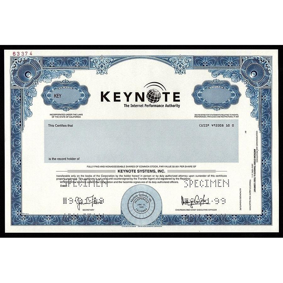 Keynote Systems, Inc. (Specimen) Stock Certificate