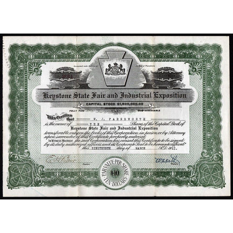 Keystone State Fair and Industrial Exhibition Stock Certificate