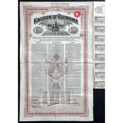 Kingdom of Roumania, Roumanian four per cent Consolidation Loan 1922 Stock Bond Certificate