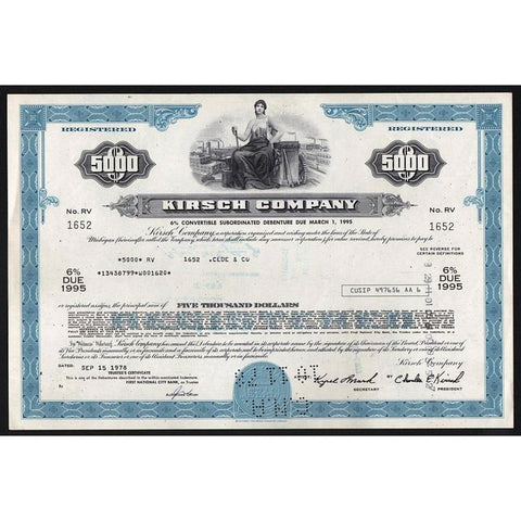 Kirsch Company Stock Certificate