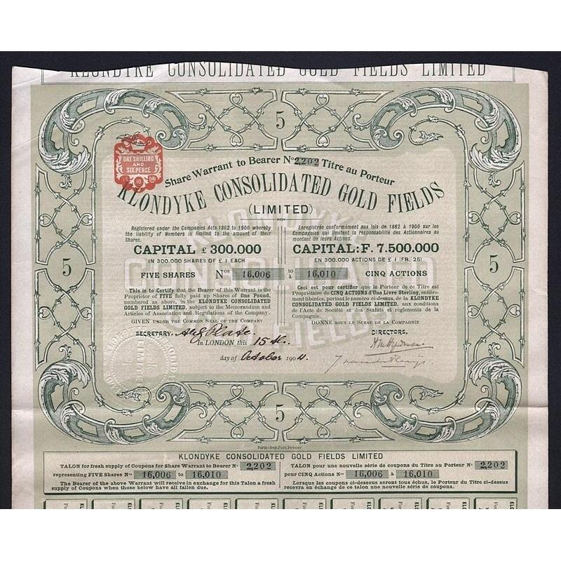 Klondyke Consolidated Gold Fields (Limited) Stock Certificate