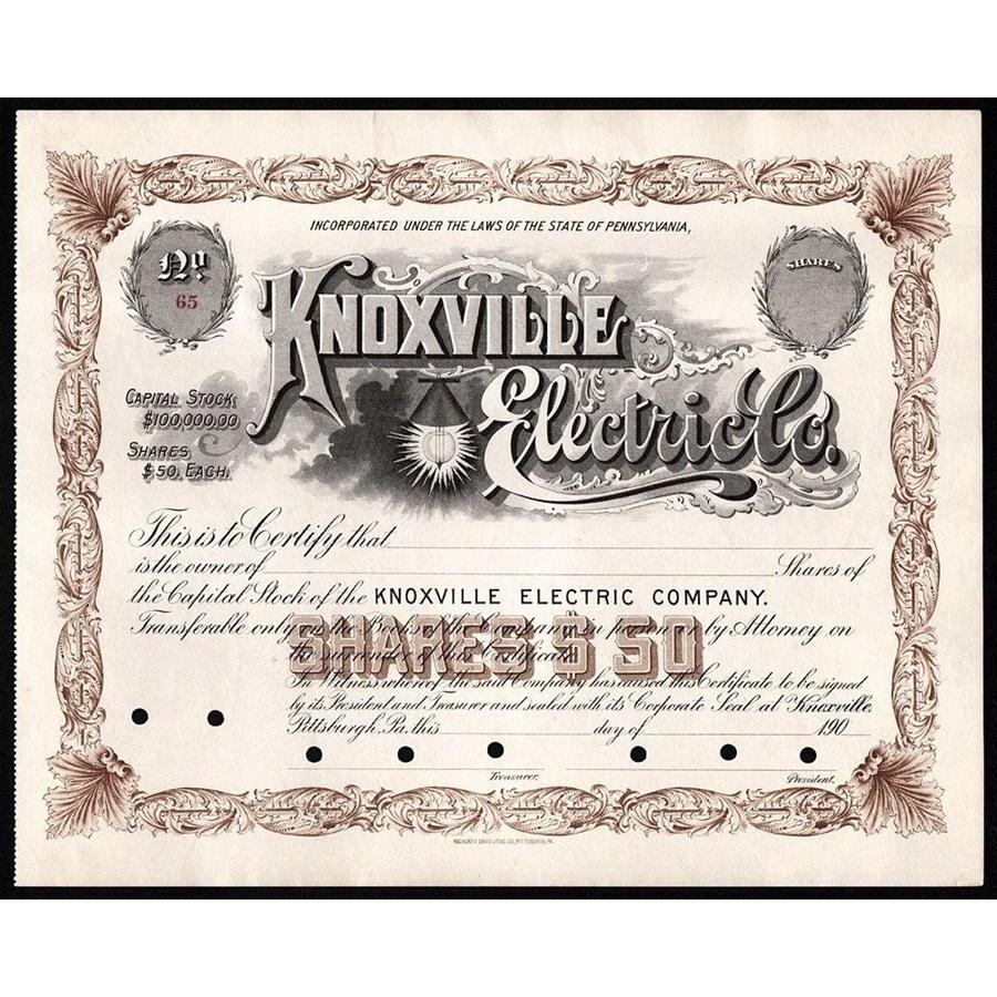 Knoxville Electric Co. Stock Certificate
