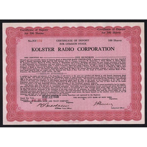 Kolster Radio Corporation Stock Certificate