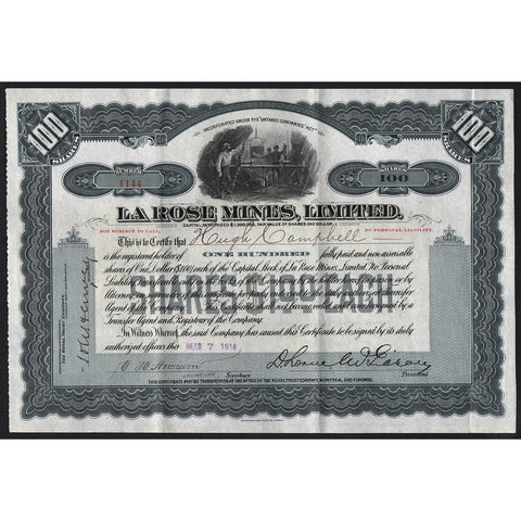 La Rose Mines, Limited Stock Certificate