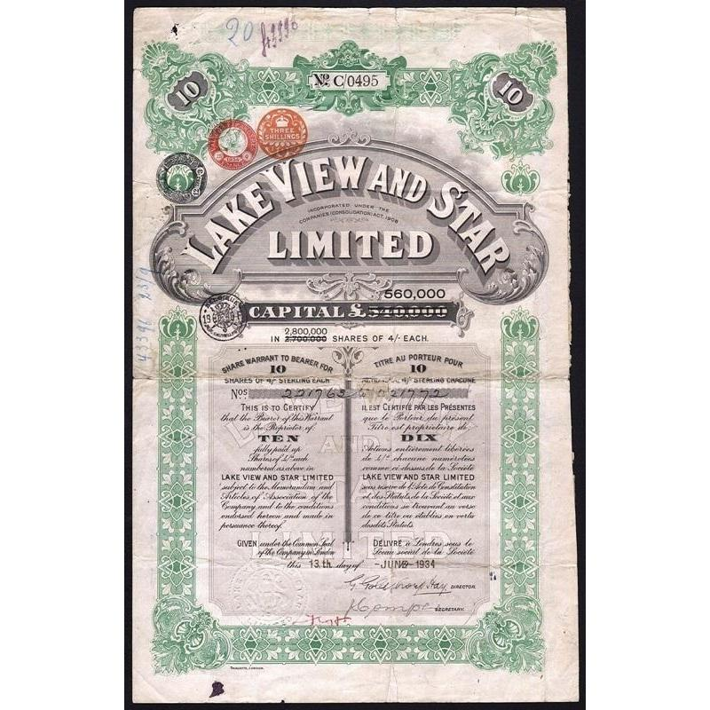 Lake View and Star Limited Stock Certificate