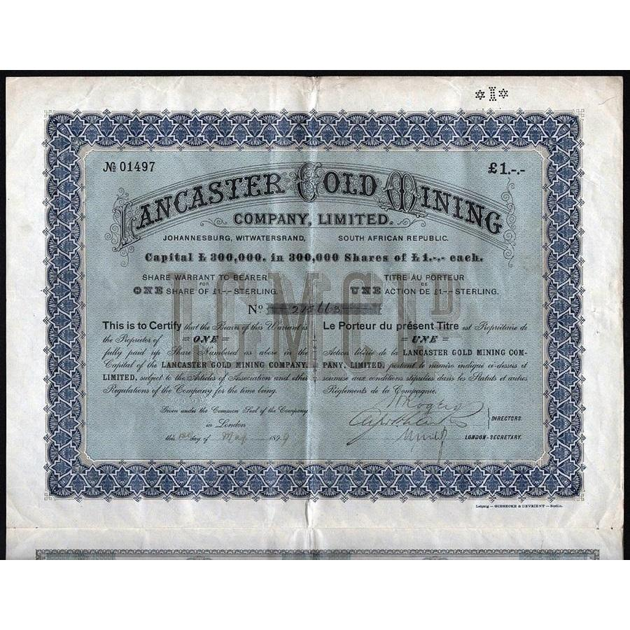 Lancaster Gold Mining Company (Johannesburg, Witwatersrand, South African Republic) Stock Certificate
