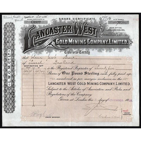 Lancaster West Gold Mining Company Limited Stock Certificate