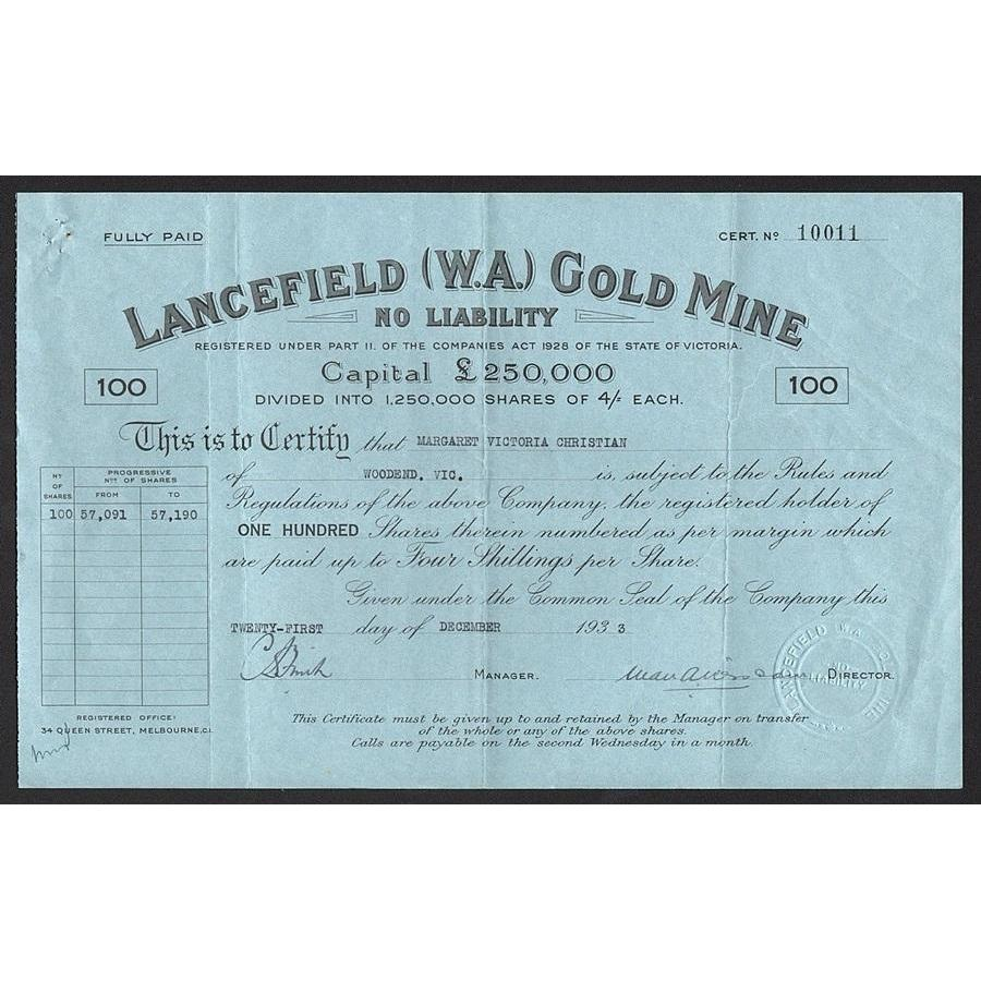 Lancefield (W.A.) Gold Mine No Liability Stock Certificate