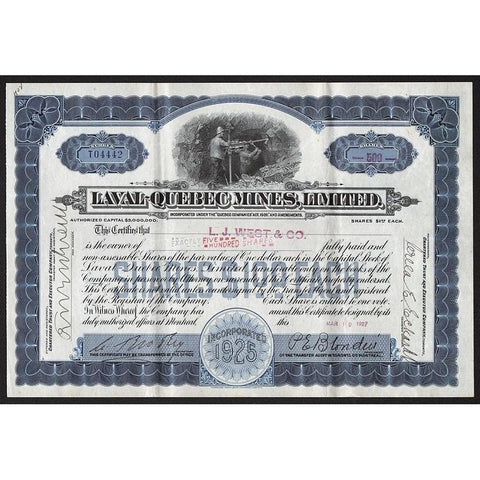 Laval-Quebec Mines, Limited Stock Certificate