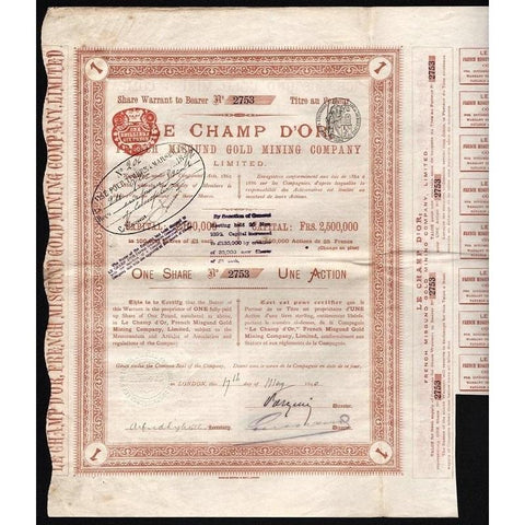 Le Champ d'Or - French Misgund Gold Mining Company Limited Stock Certificate