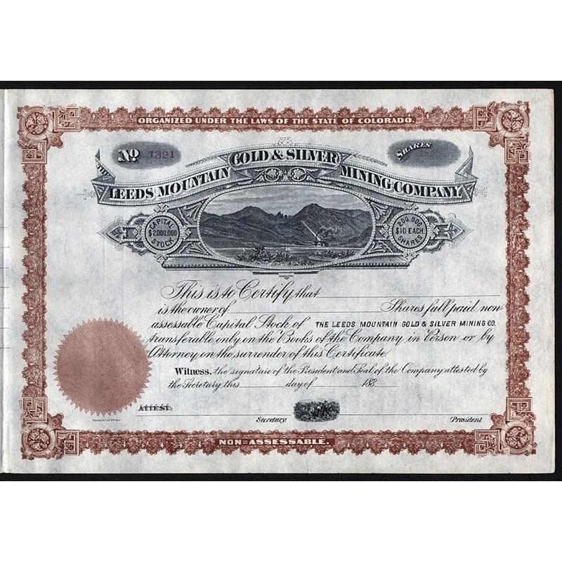 Leeds Mountain Gold & Silver Mining Company Stock Certificate