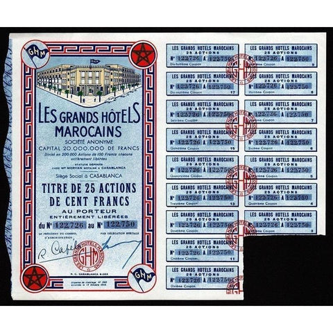Les Grands Hotels Marocains Societe Anonyme Stock Certificate