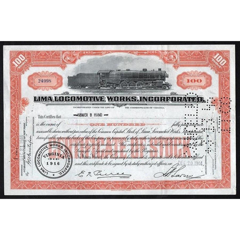 Lima Locomotive Works, Incorporated Stock Certificate