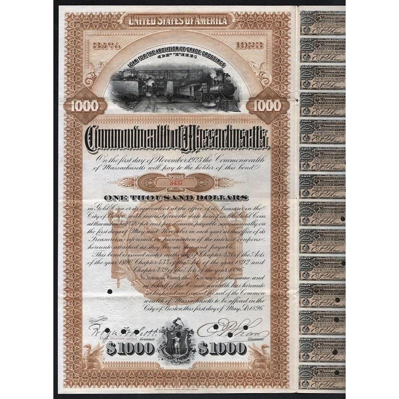 Loan for the Abolition of Grade Crossings of the Commonwealth of Massachusetts Stock Certificate