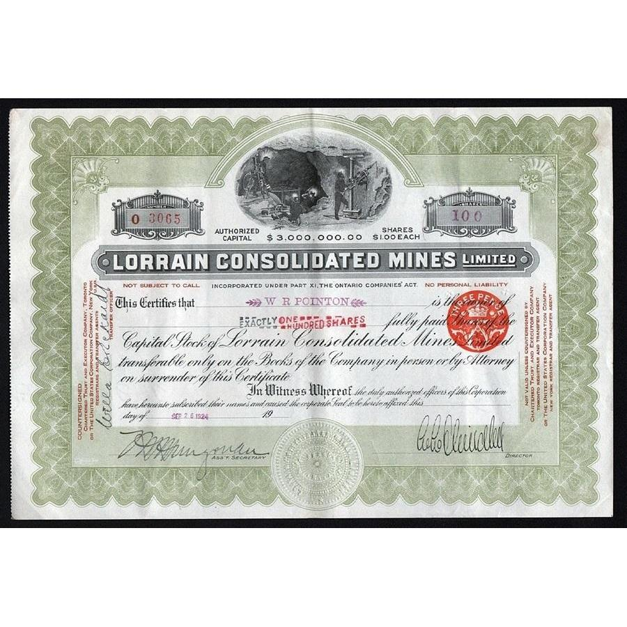 Lorrain Consolidated Mines, Limited Stock Certificate