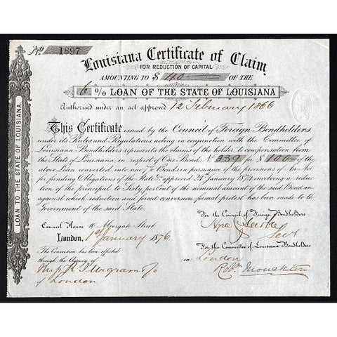 Louisiana Certificate of Claim for Reduction of Capital, 6% Loan of the State of Louisiana Stock Certificate