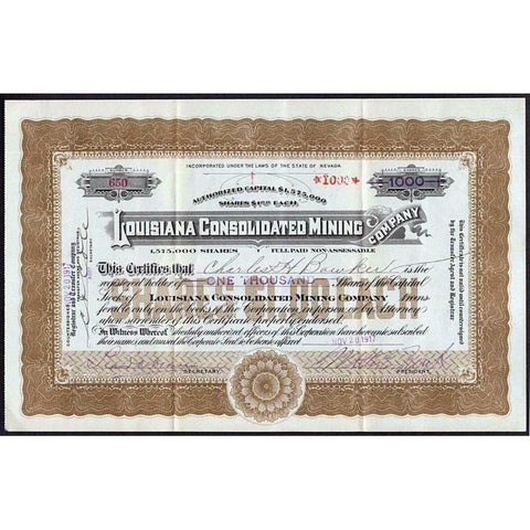 Louisiana Consolidated Mining Company Stock Certificate