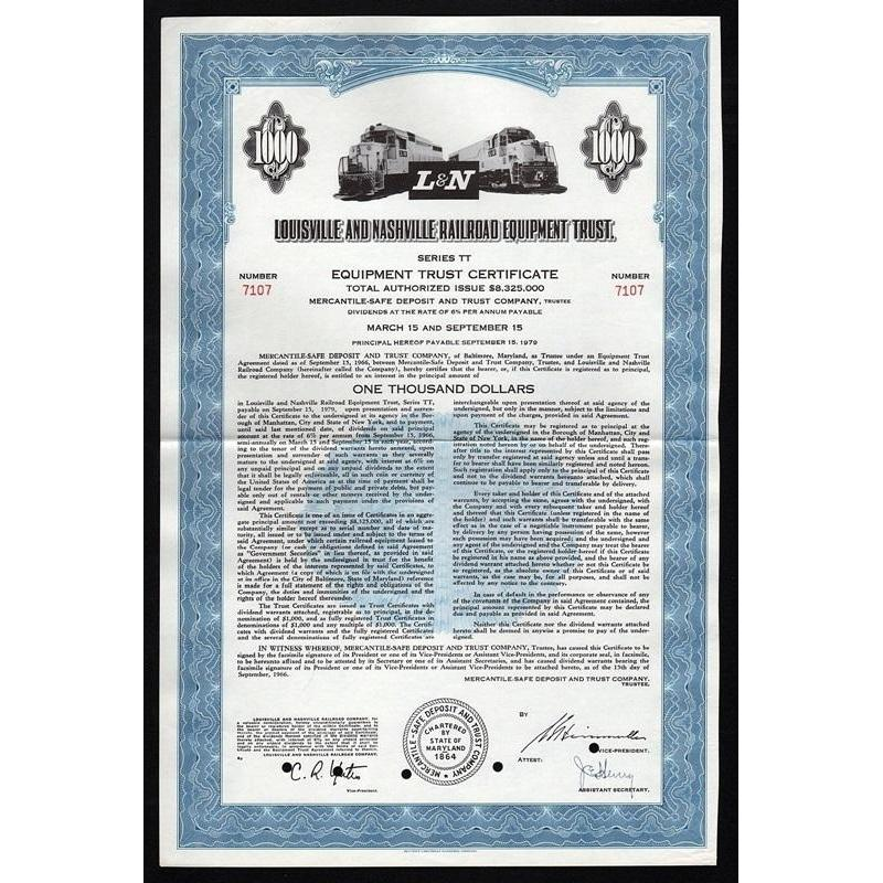 Louisville and Nashville Railroad Equipment Trust Stock Certificate